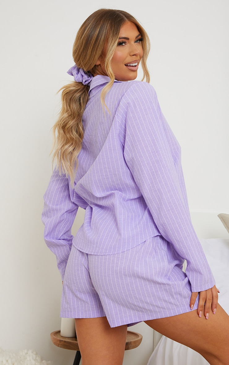 Lilac Striped Long Sleeve Shirt And Shorts Pj Set With Scrunchie 2