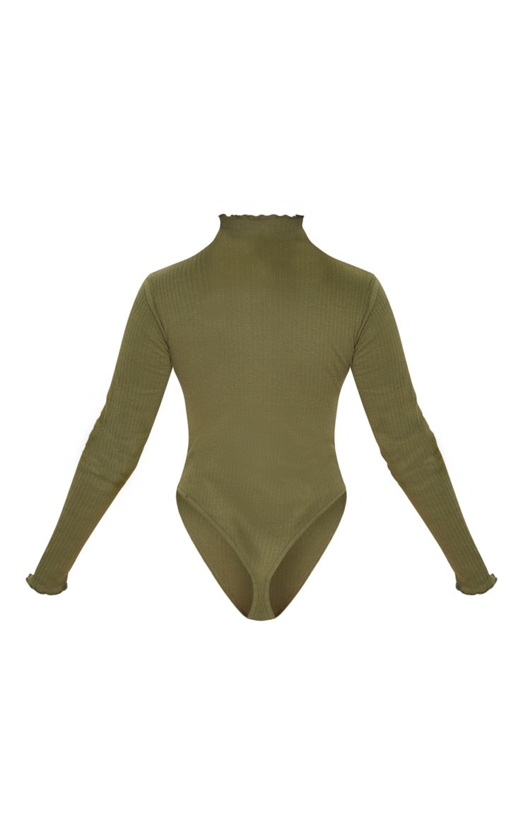Petite Khaki Heavy Rib Frill Edge Long Sleeve Bodysuit 5