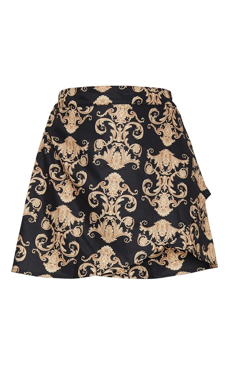Black Satin Scarf Print Wrap Tie Mini Skirt 3