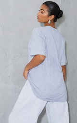 PRETTYLITTLETHING Graphic Grey Oversized T Shirt 2