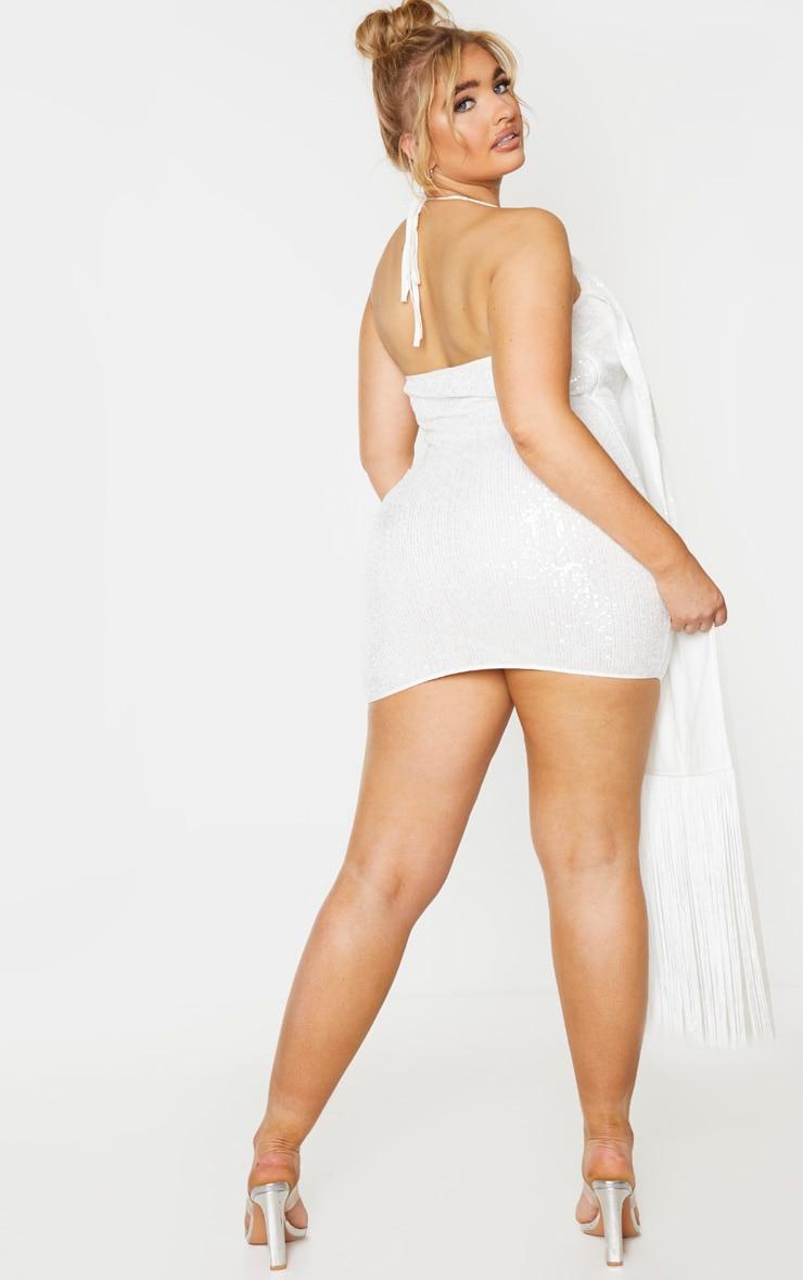 Plus Cream Sequin Halterneck Drape Bodycon Dress 2