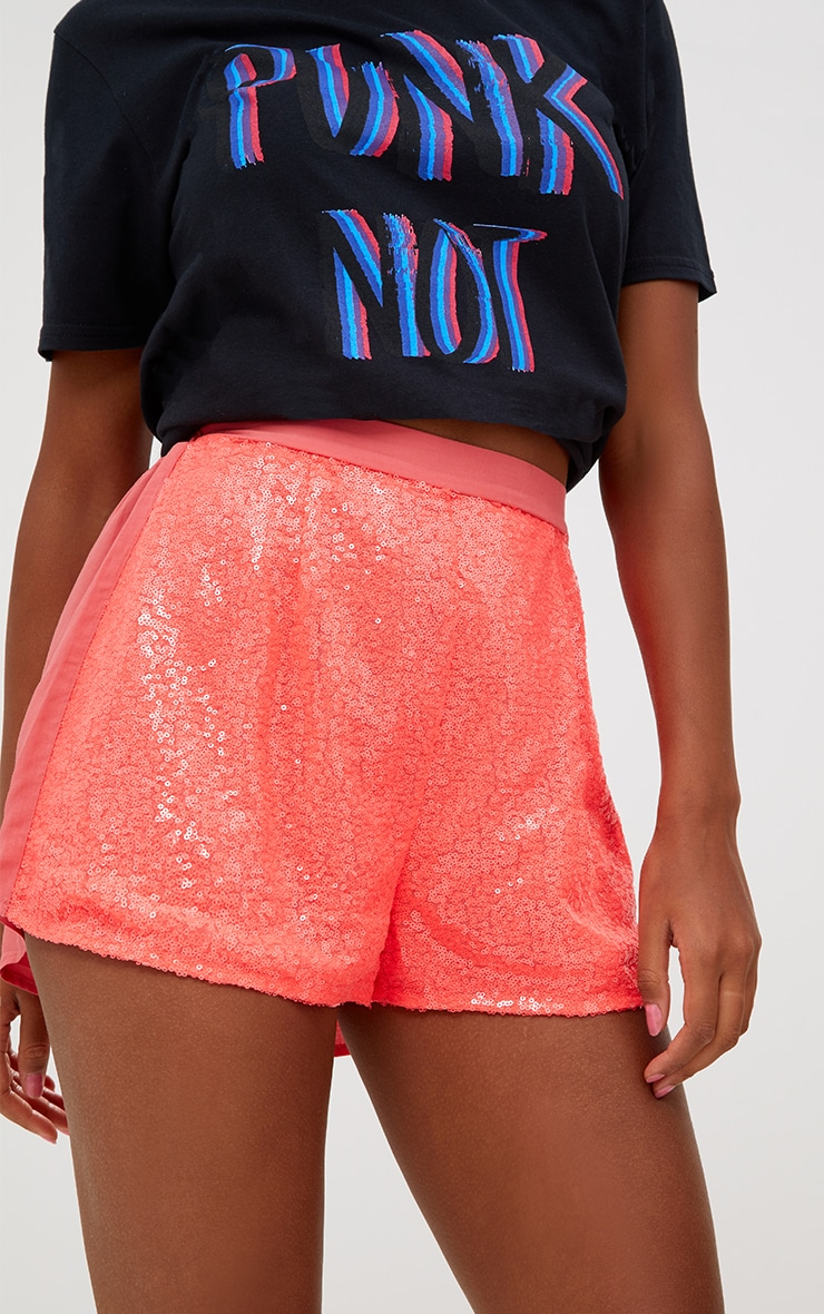 Coral Sequin Shorts 6