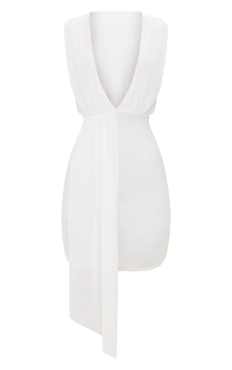 White Plunge Neckline Drape Detail Bodycon Dress 4