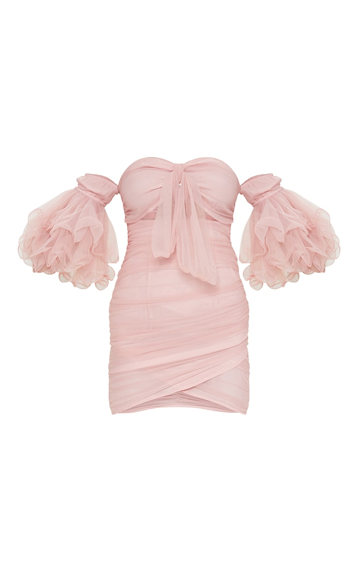 Dusty Pink Ruched Frill Sleeves Bardot Bodycon Dress 5