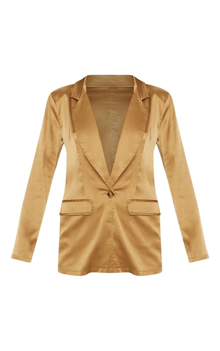Gold Satin Oversized Blazer 3