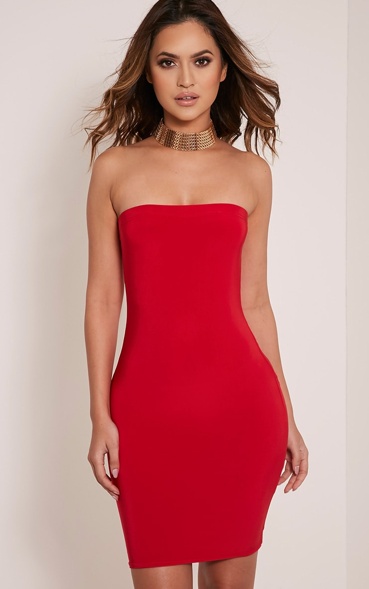 Drita Red Bandeau Slinky Bodycon Dress 1