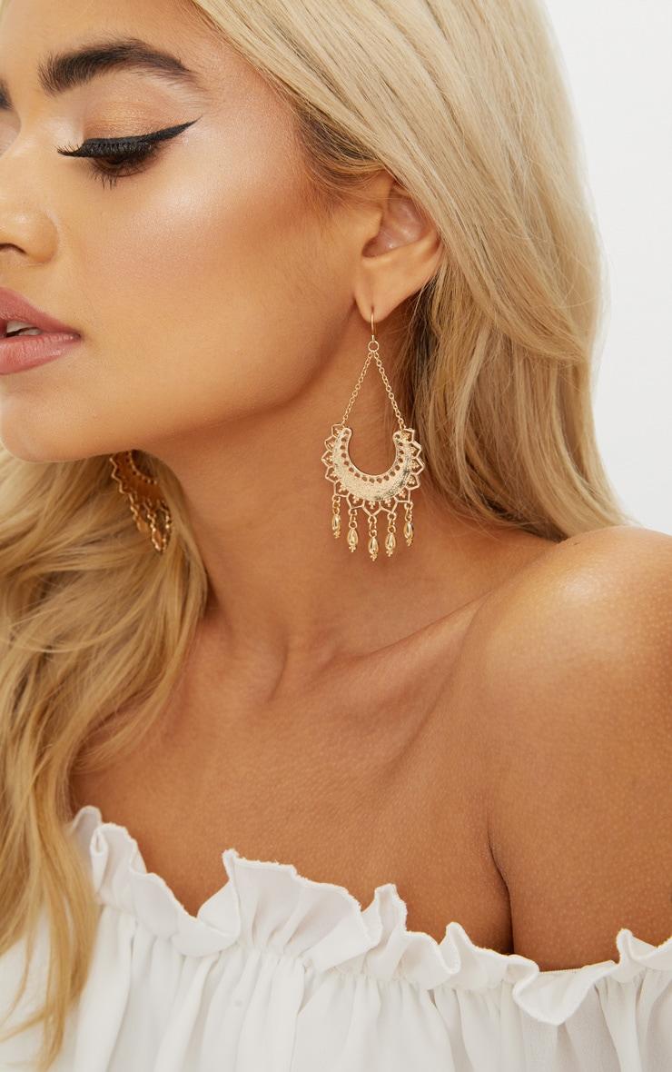 Gold Sun Drop Earrings 1