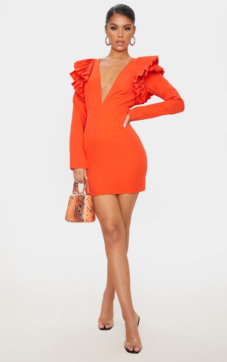 Bright Orange Pleated Shoulder Long Sleeve Plunge Bodycon Dress 4