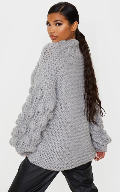 Grey Premium Chunky Knit Bobble Sleeve Oversized Jumper