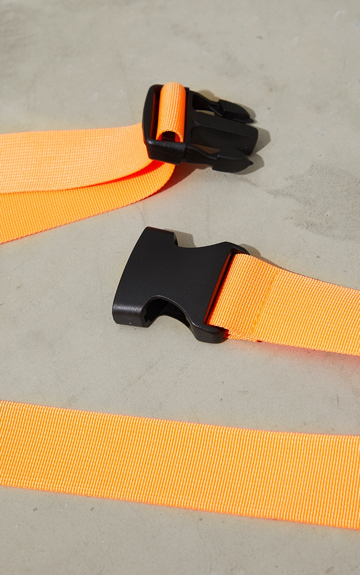 Neon Orange Slider Buckle Tape Belt 3
