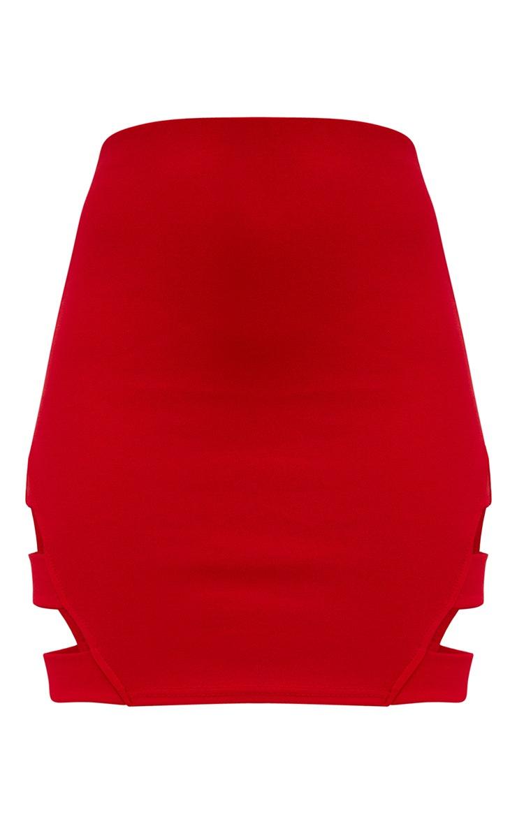 Red Strap Panel Mini Skirt 3