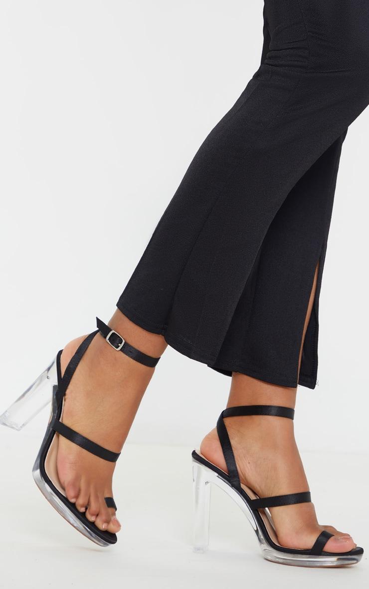 Black Clear Toe Loop Platform Sandal 2