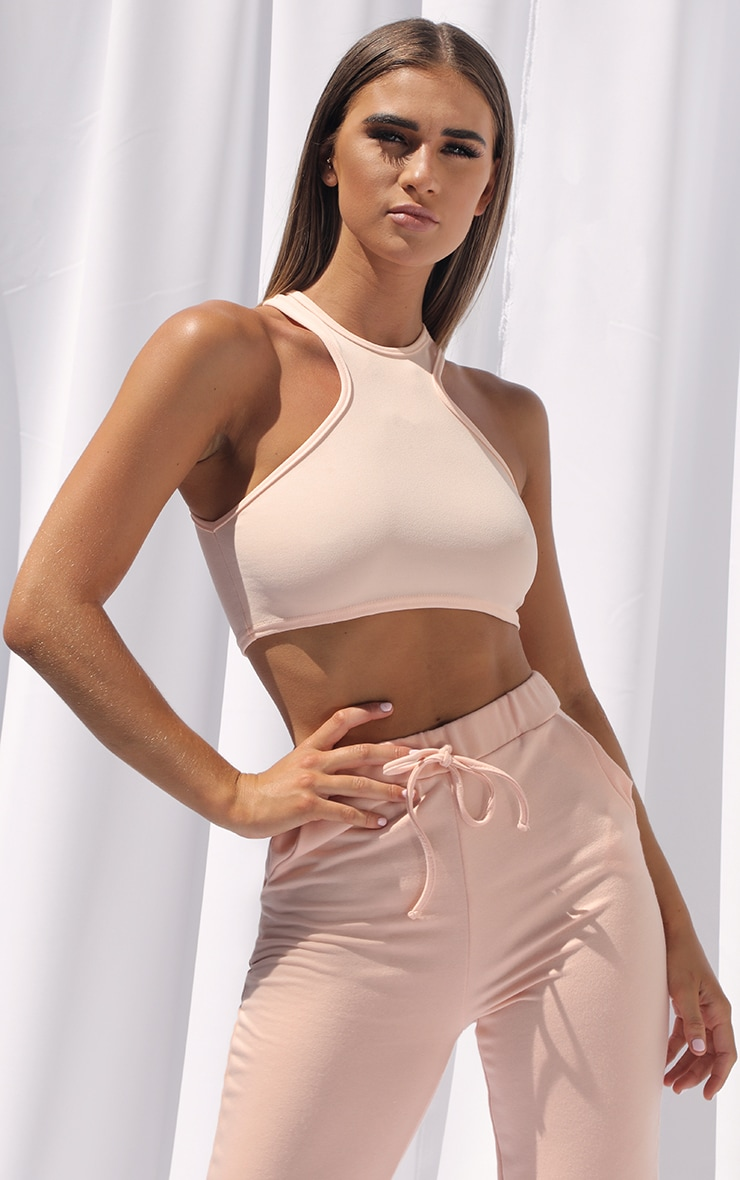 Peach Crepe Racer Neck Crop Top 1