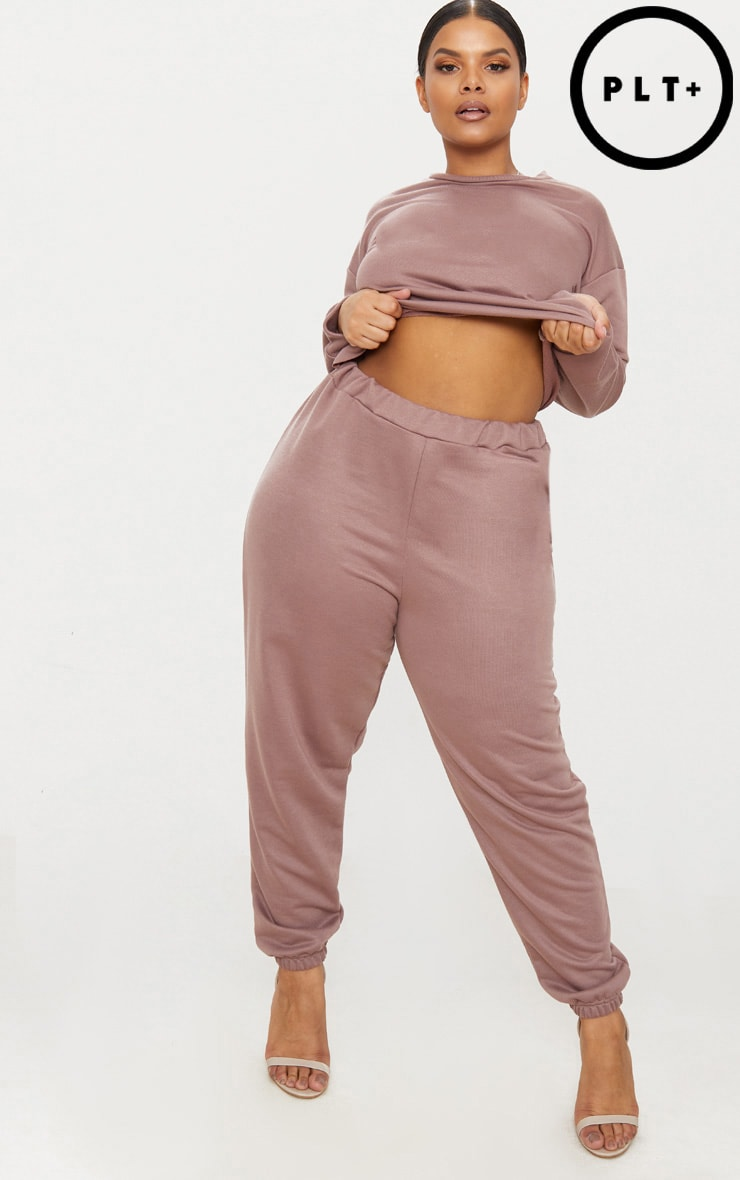 Plus Dark Mauve Joggers 1