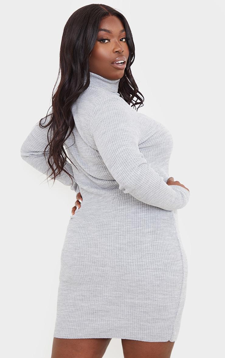 PRETTYLITTLETHING Plus Grey Rib Knitted Bodycon Dress 2