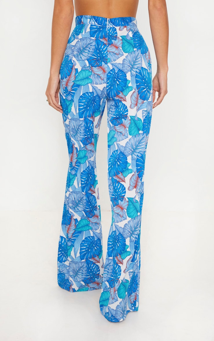 Blue Palm Print Beach Flares 4