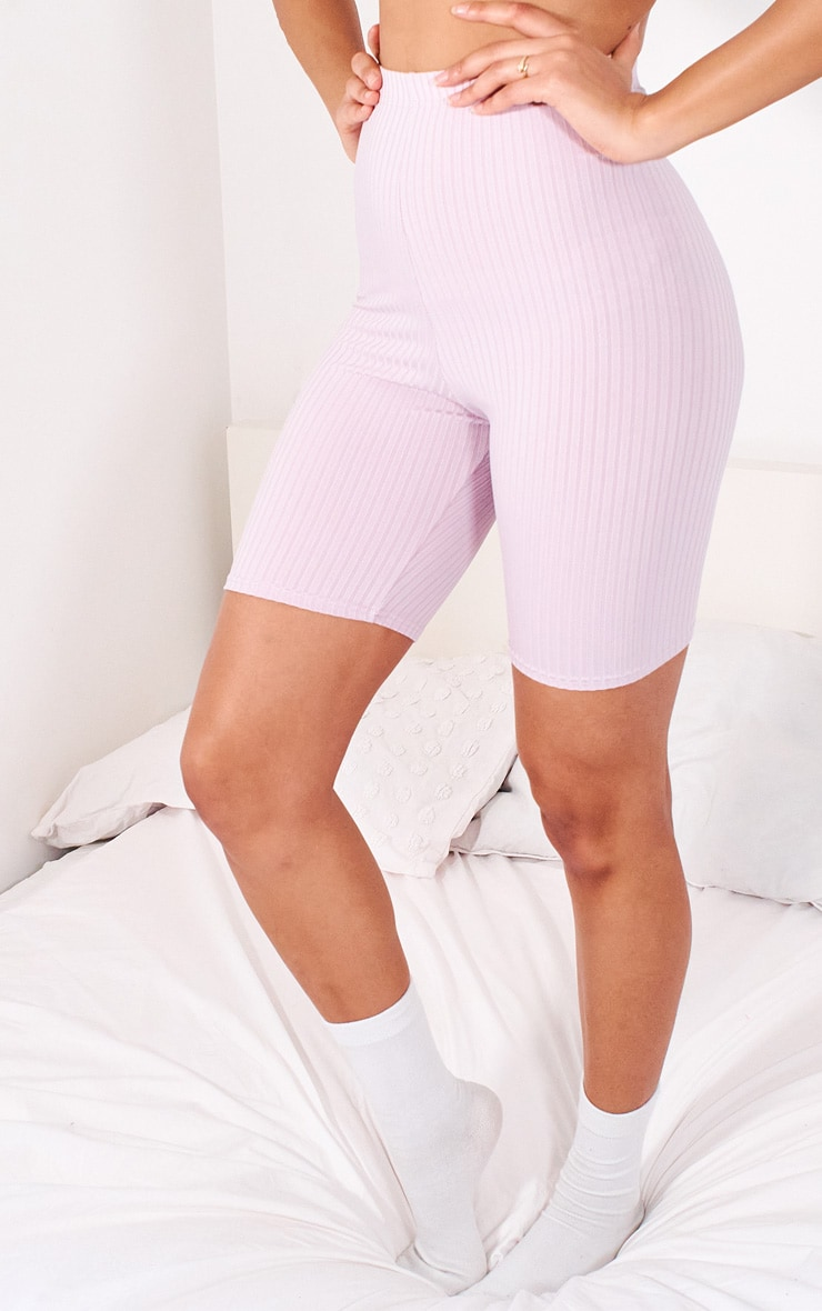 Lilac Ribbed Bike Shorts 2