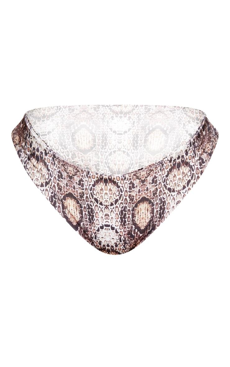 Shape Taupe Snake Print High Rise Bikini Bottoms 6