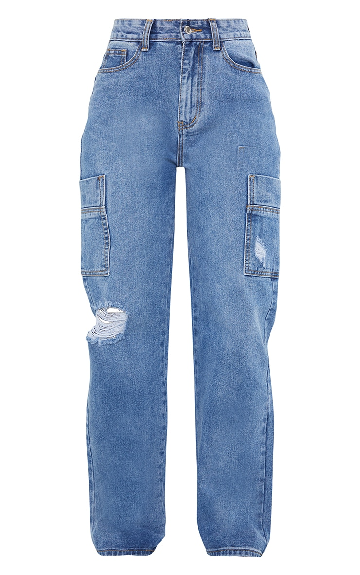 Mid Blue Wash Wide Leg Distressed Cargo Jeans 5