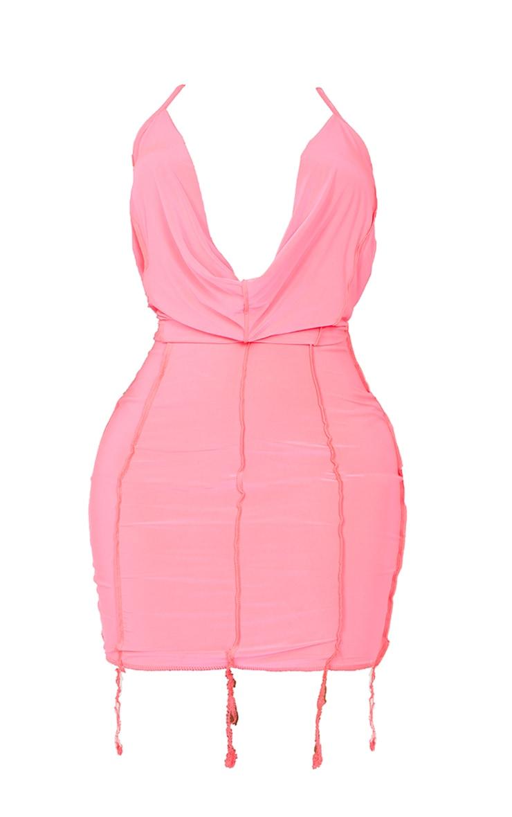 Shape Neon Pink Slinky Overlock Cut Out Back Cowl Bodycon Dress 5
