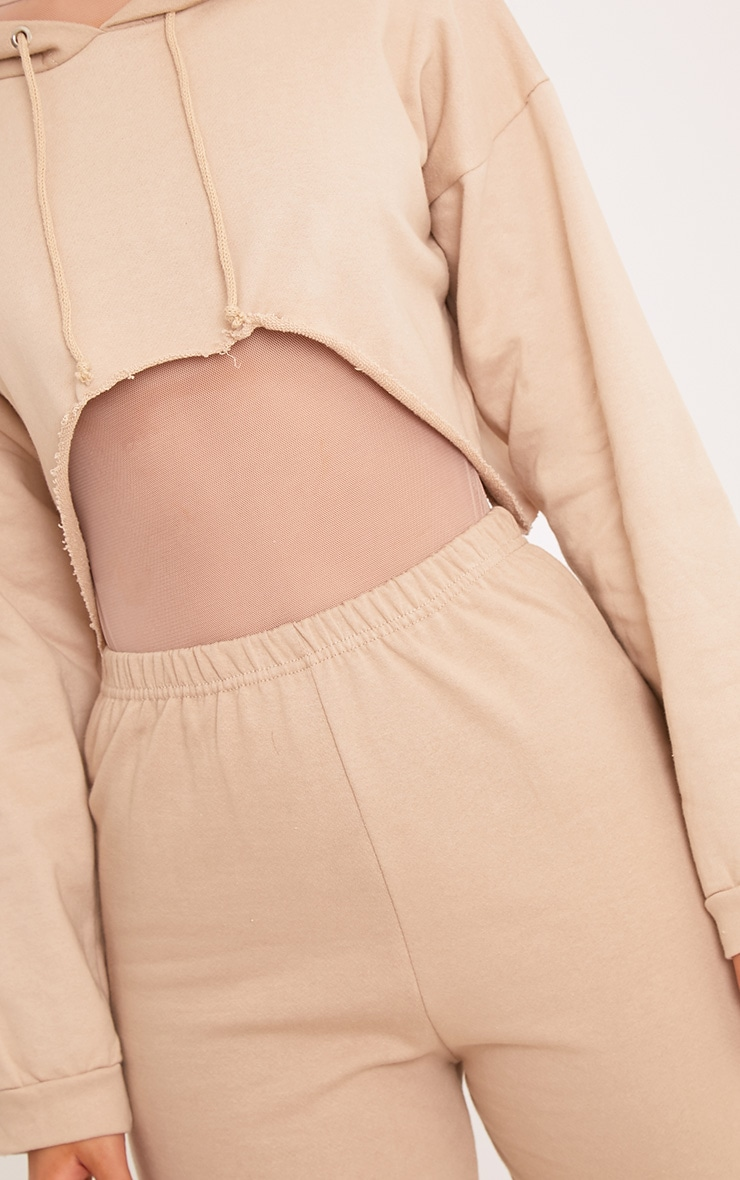 PLT Slogan Taupe Extreme Cropped Hoodie 4