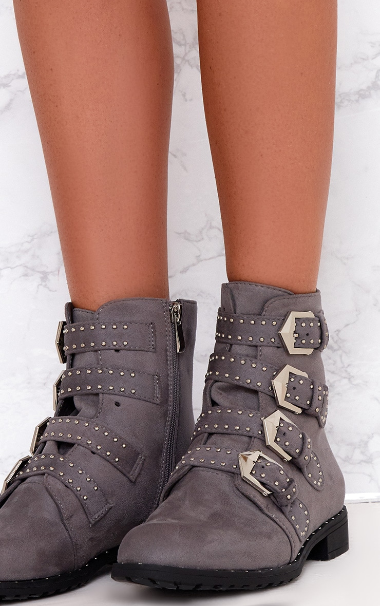 Grey PU Studded Buckle Ankle Boots  5