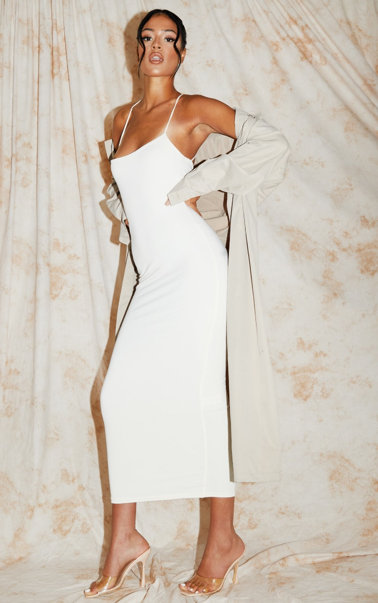 Recycled Tall Cream Contour Jersey Strappy Ruched Midi Dress 3