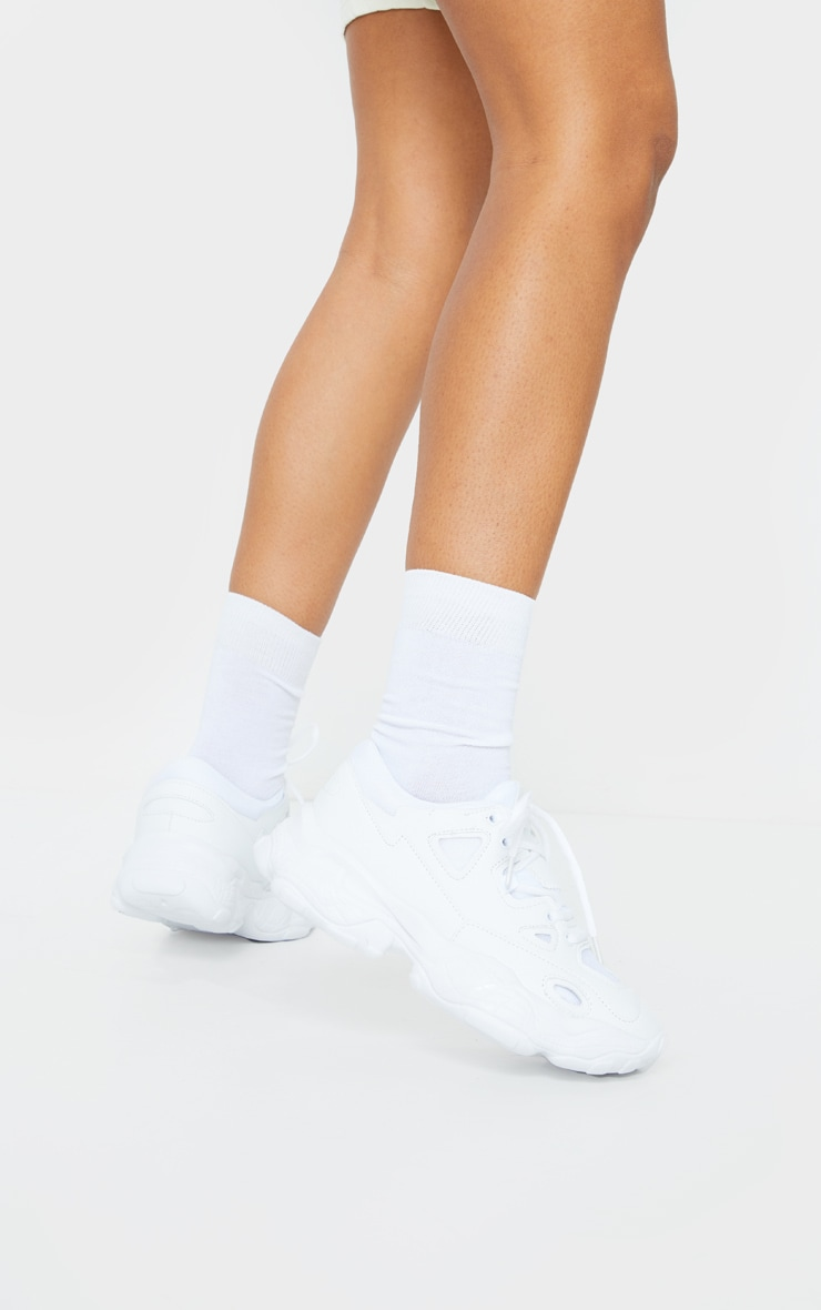 White Multi Layered Sole Chunky Sneaker 2