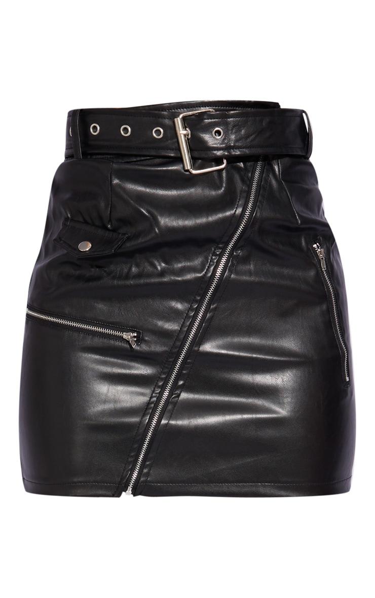Petite Black Faux Leather Biker Belted Mini Skirt 6