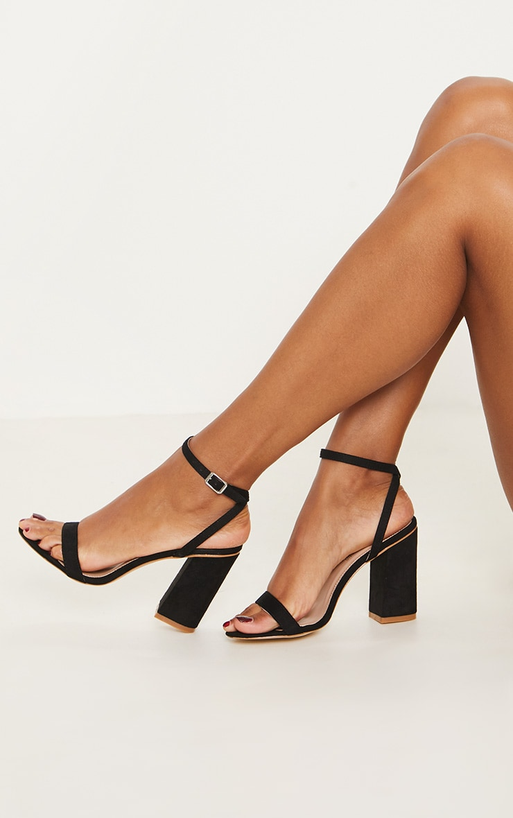 Black Ankle Strap Block Heel 2