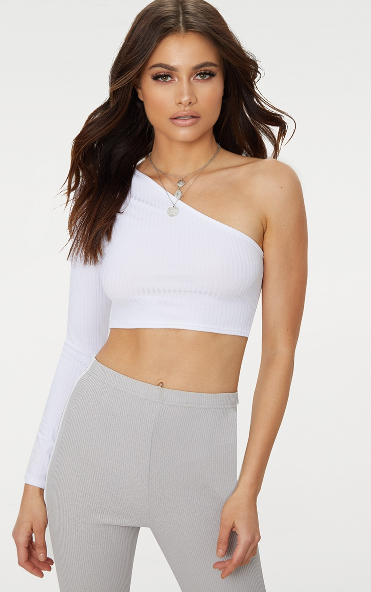 White One Shoulder Rib Crop Top 1