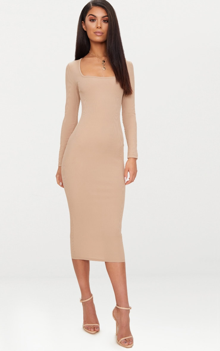 Taupe Ribbed Long Sleeve Midaxi Dress