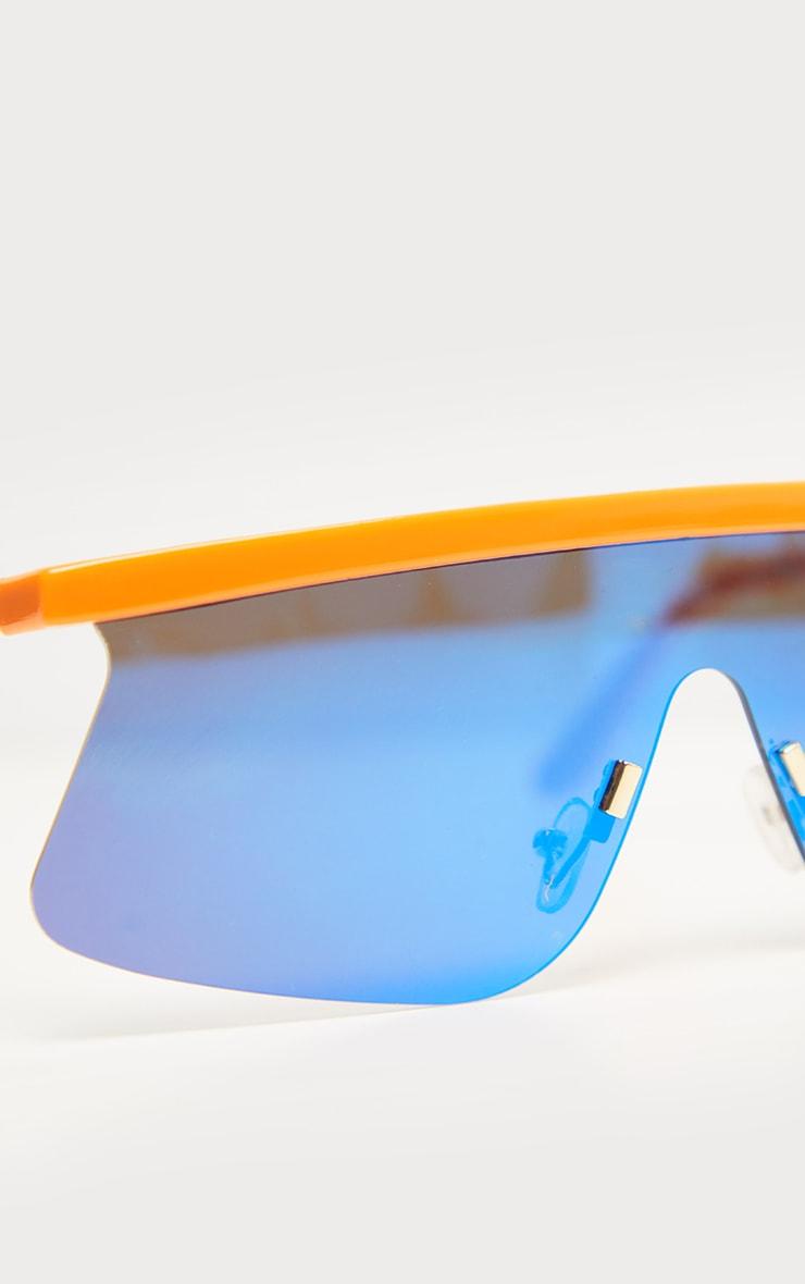 Orange Flat Top Revo Sporty Sunglasses 4
