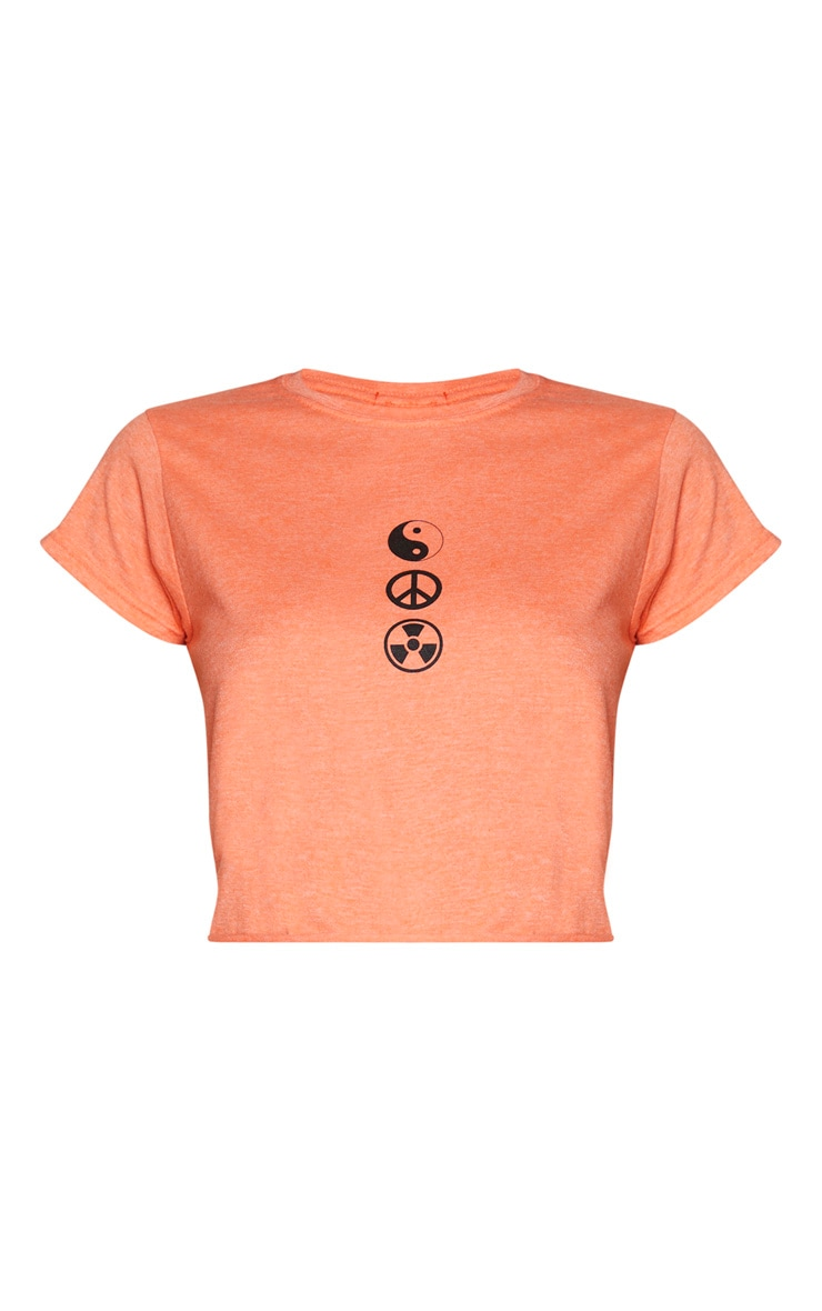 T-shirt crop cintré orange imprimé Ying & Yang 6