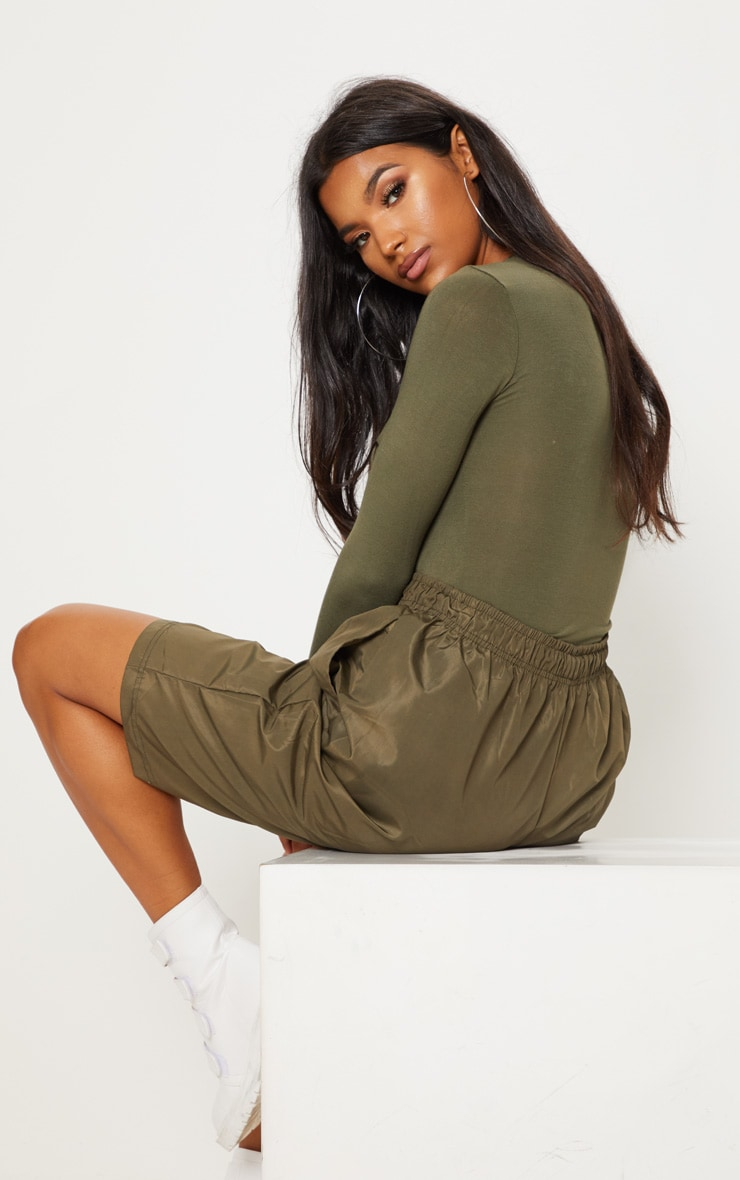 Basic Khaki Fitted Long Sleeve T Shirt 2