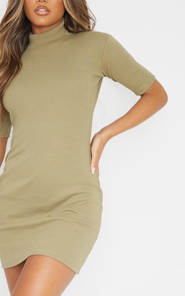 Khaki Rib High Neck Short Sleeve T Shirt Dress 4