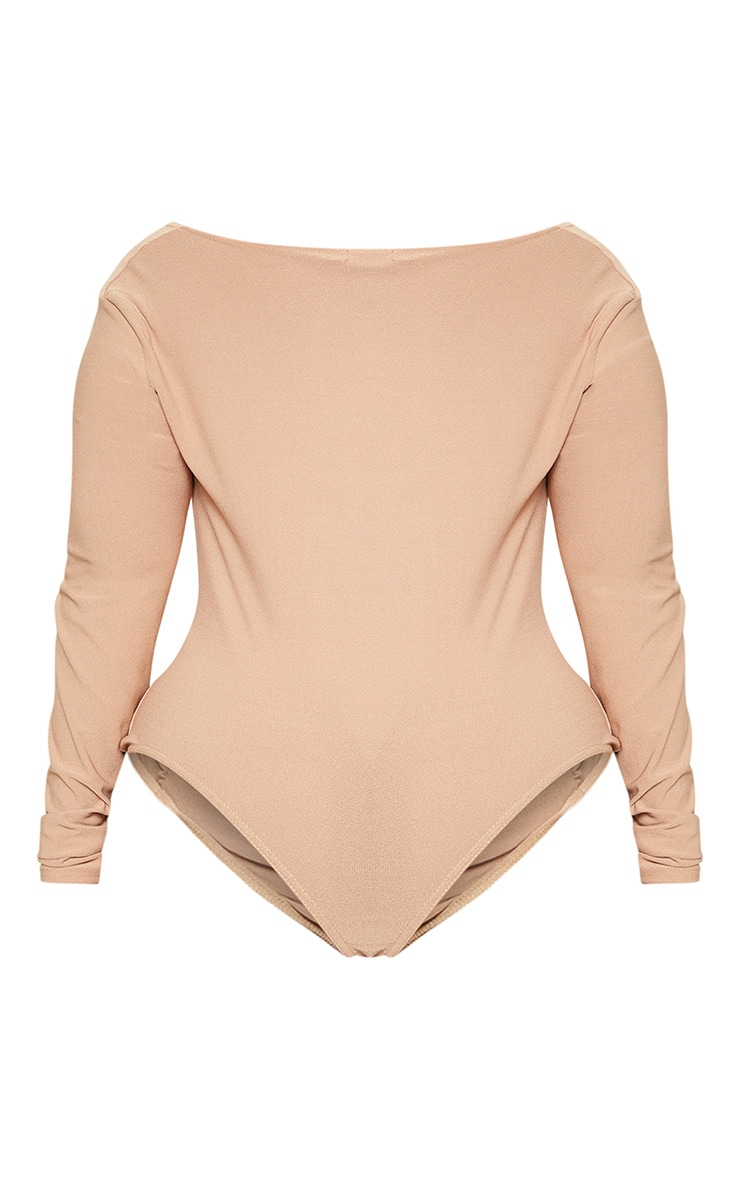 Plus Camel Ruched Long Sleeve Bodysuit 4