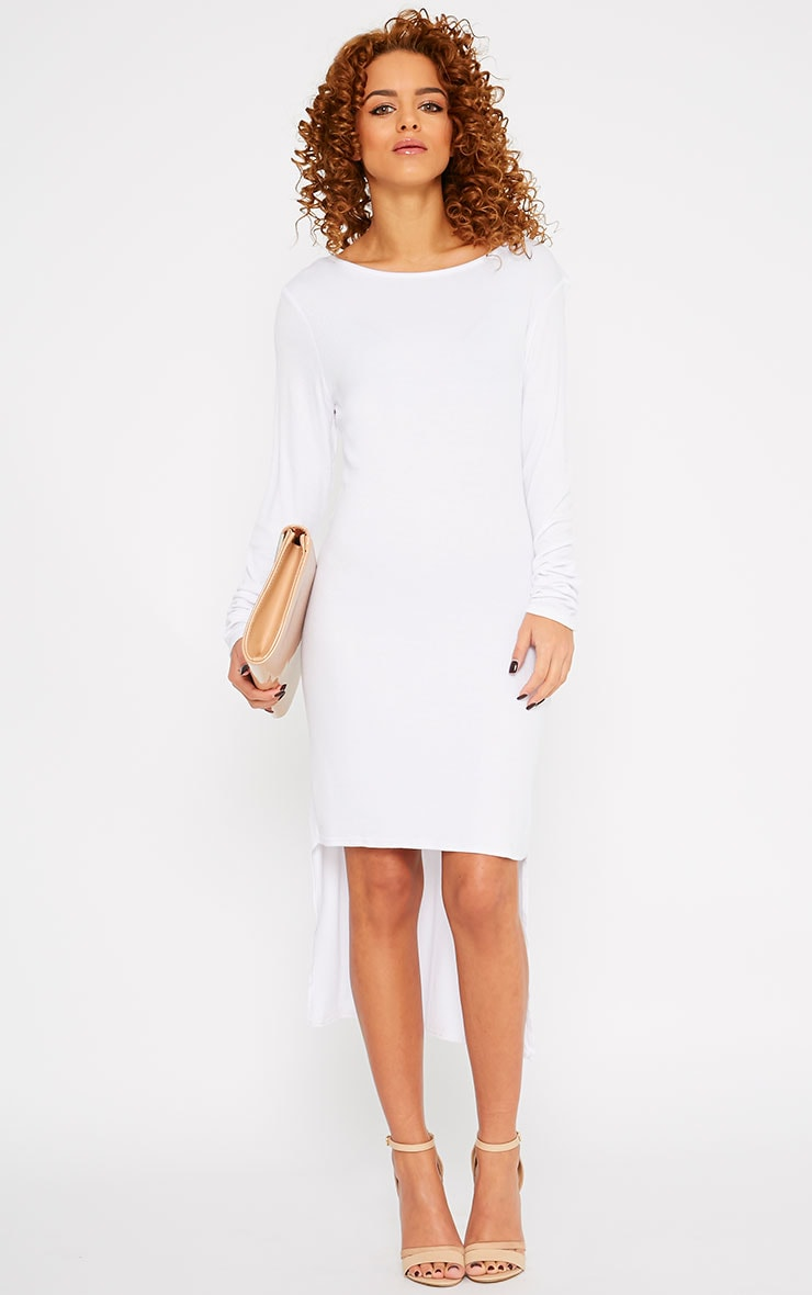 Basic White Drop Hem Dress 2