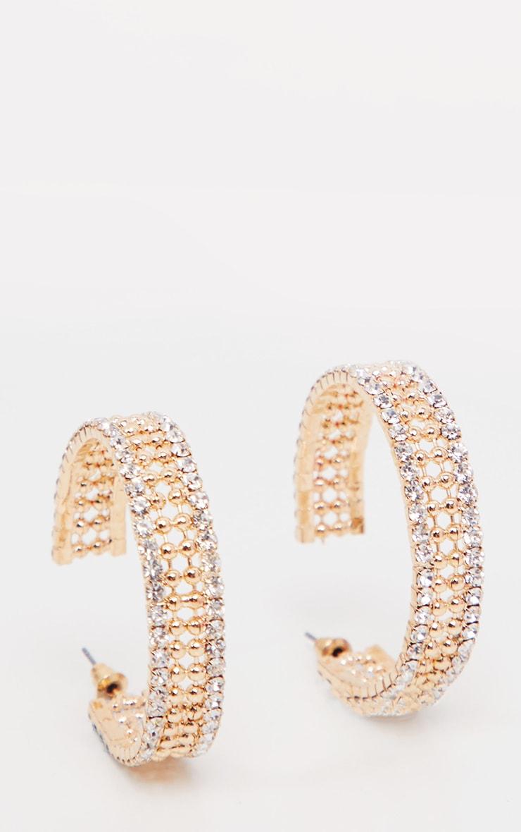 Gold Diamante Edged Hoop Earrings      1