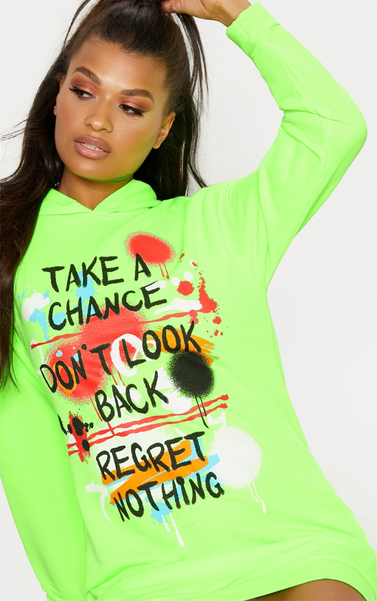 Neon Green Graffiti Slogan Oversized Hoodie Jumper Dress 5
