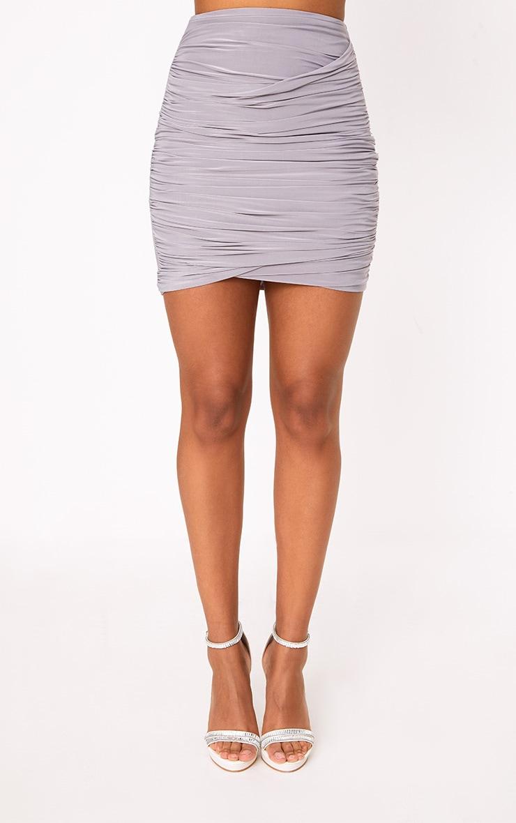 Grey Ruched Layered Mini Skirt 2