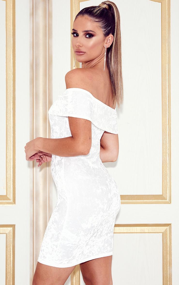 White Velvet Bardot Bodycon Dress 2