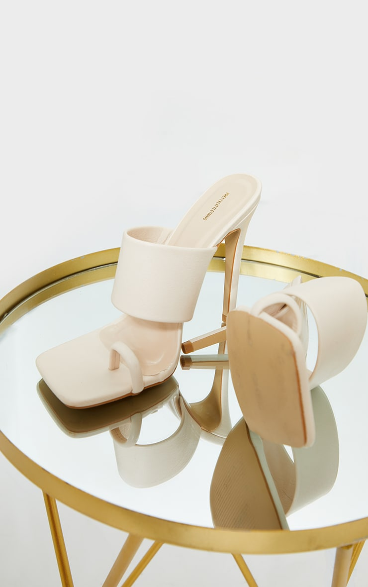 Cream Square Toe Loop High Heel Mules 3