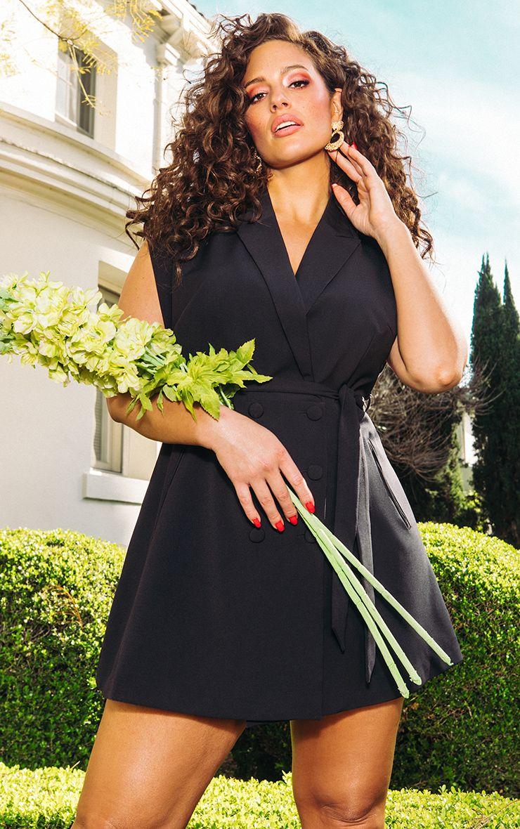 87a908f2d24b52 Black Tie Waist Sleeveless Blazer Dress image 1
