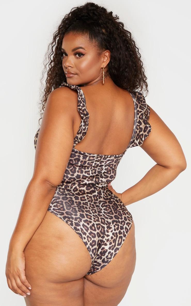 Plus Brown Leopard Print Frill Detail Swimsuit 2