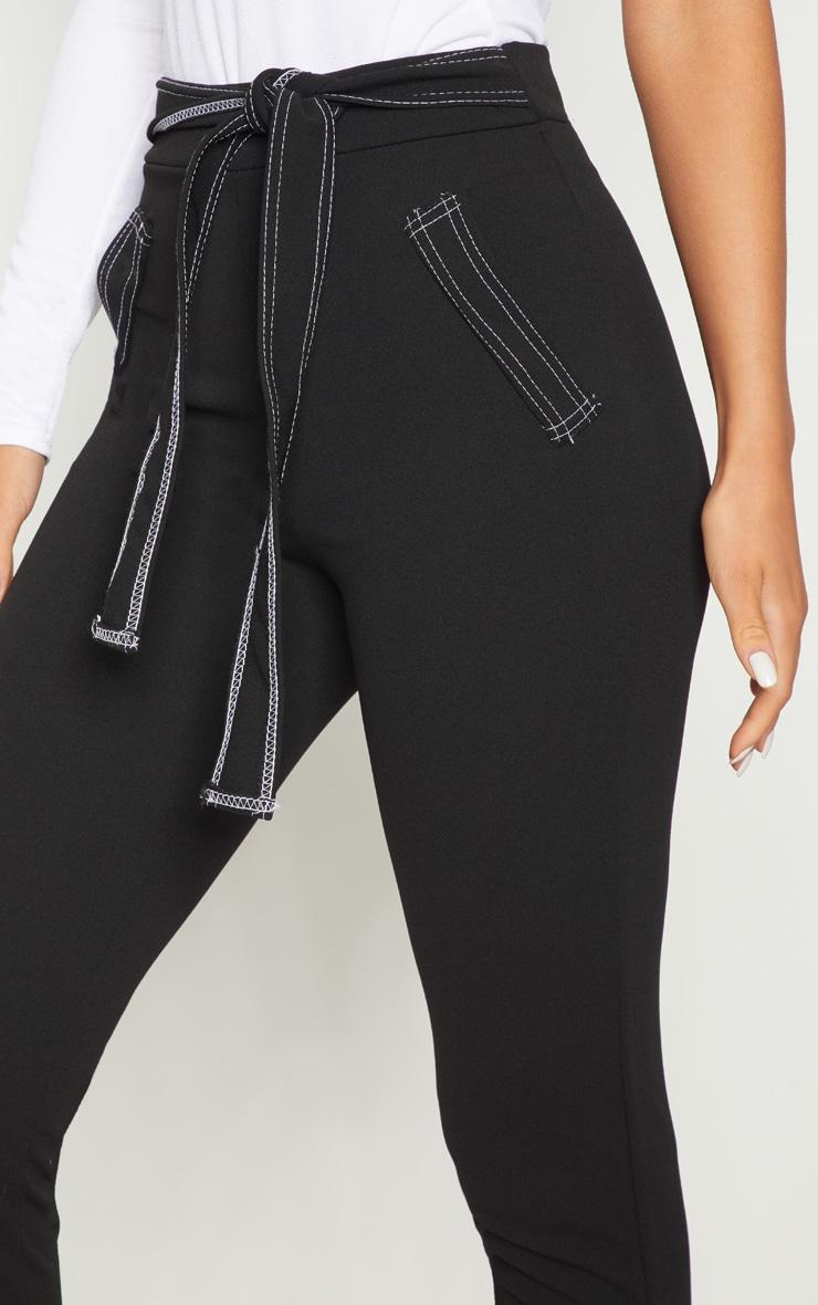 Black Contrast Stitch Tie Waist Skinny Trouser 5