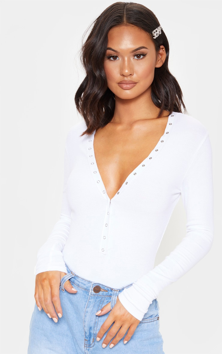 White Soft Rib Popper Detail Long Sleeve Bodysuit 1