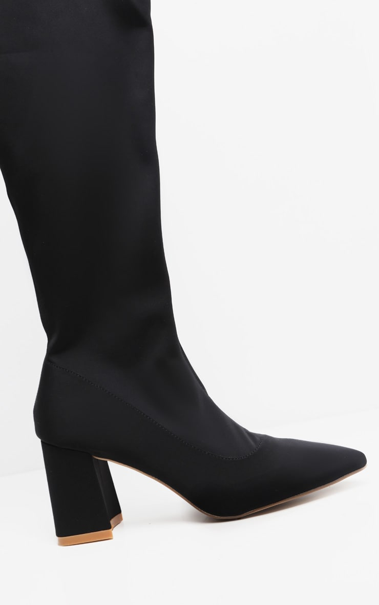 Black Wide Fit Low Block Heel Thigh High Boot 3