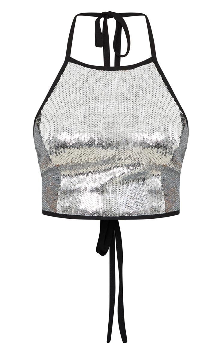 Petite Silver Sequin Halterneck Crop Top 3
