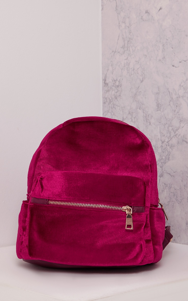 Jayci Burgundy Velvet Backpack 1
